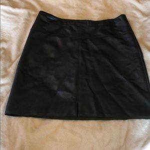 Navy leather skirt